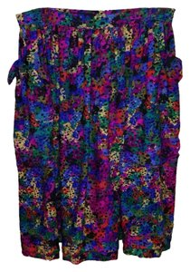 Escada Vintage Bold Eclectic Pleated Wool Maxi Skirt Multi