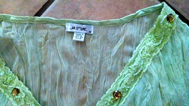 Other Long Sleeve Beaded Weight V-neck Gold Pin Striped Cute P710 Jaipur Top light green