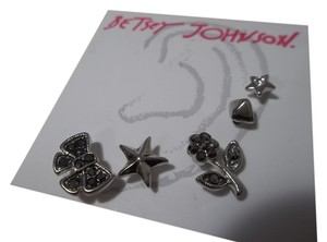 Betsey Johnson Betsey Johnson Silver Tone Pave Bow & Flower 5 Stud Earrings Set NWT $35