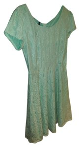Maurices short dress Mint Green Lace Short Sleeves High Neckline on Tradesy