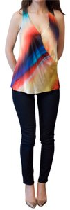 Nicole Miller Suprlice Going Out Silk Color Top Printed Multi