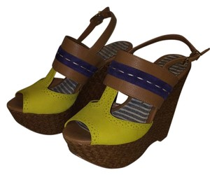 Jessica Simpson Brown, yellow, navy. Wedges