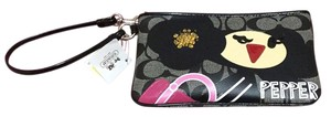 Coach Pepper Poppy Wristlet in SV/Black
