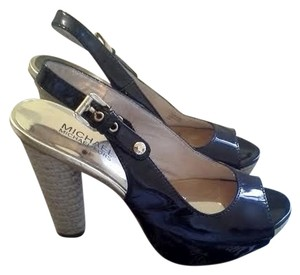 MICHAEL Michael Kors Heels Pumps Slingback Leather Patent Leather Black Platforms