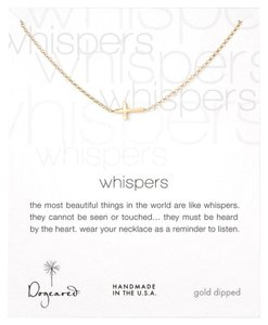 Dogeared DOGEARED Whispers Cross Gold Dipped Necklace- 18 inches
