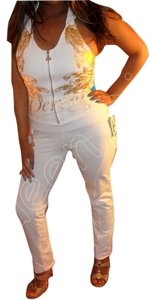 House of Deron Dereon Jumpsuit Dereon Romper Skinny Pants Pearl White Gold