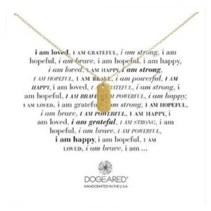 Dogeared Dogeared I am Strong Small Dog Tag Necklace, Gold Dipped, 18 in