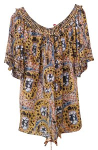 Catherine Malandrino Peasant Blouse Summer Blouse Embellished Blouse Fancy Tunic