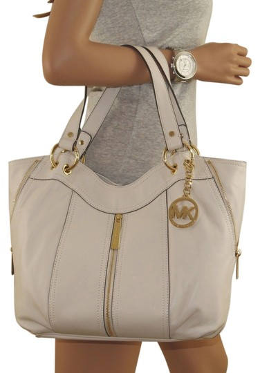 9c89b4a504a7a1 Michael Kors Moxley Medium Genuine Leather White Tote Tone Hardware  Exterior Front Tone Zipper That Opens ...