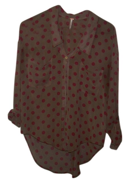 Free People Button Down Shirt BROWN WITH RED POLKA DOTS
