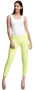 7 For All Mankind Cropped Neon Citron Skinny Jeans