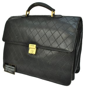 Chanel Auth CHANEL Quilted CC Logos Briefcase Hand Bag Black Caviar Skin Leather W22717