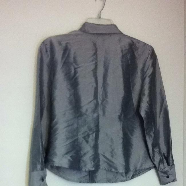 Ann Taylor LOFT Button Down Shirt Silver