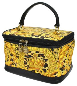 Versace Auth GIANNI VERSACE Leopard Cosmetic Hand Bag Yellow PVC Leather Vintage W24565