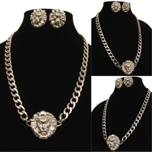 Silver Lion Head Chain Necklace And Earring Set