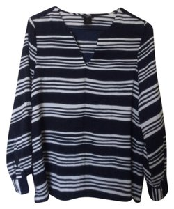 Ann Taylor Top Dark/Navy Blue and White (stripes)