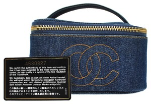 Chanel Authentic CHANEL CC Logos Cosmetic Hand Bag Blue Gold Denim Vintage Italy S01553