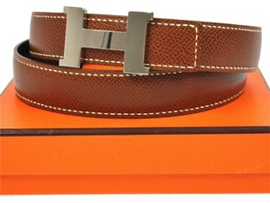 Hermès Authentic HERMES Mini Constance H Buckle Reversible Belt Brown Silver 75 B20863