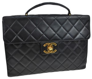 Chanel Auth CHANEL Quilted CC Briefcase Hand Bag Black Leather Vintage France SN00628