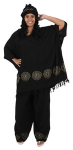 Utopia Africa Designs Super-Sized Ankh Design Pant Set: Black
