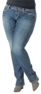 Silver Jeans Co. Suki Curvy Plus Size Denim Straight Leg Jeans-Medium Wash