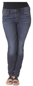 Silver Jeans Co. Junior Plus Size Denim High Waist Joga Pants Skinny Jeans-Dark Rinse