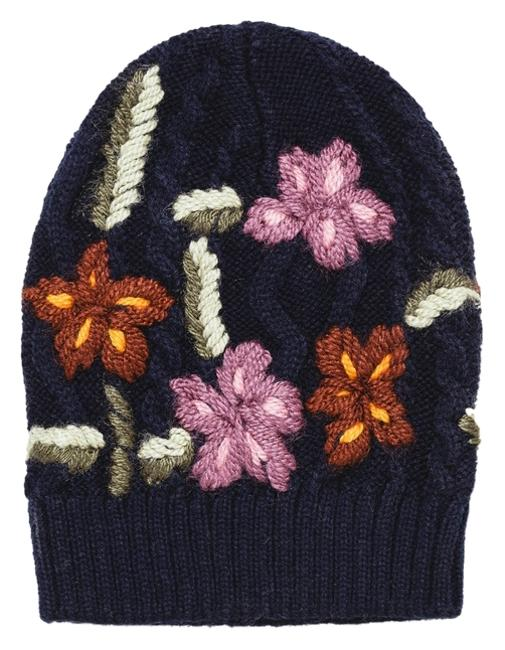 Item - Navy/Multi Hand Embroidered Knit Hat