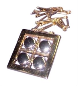 Artistry Artistry Square Pendant in Gold/Silver with Metal Chain, No Stones, New Vintage Piece