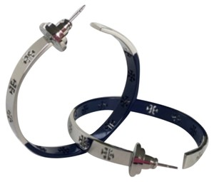 Tory Burch Tory Burch Silver and Navy Dipped Pierce Hoop Earrings
