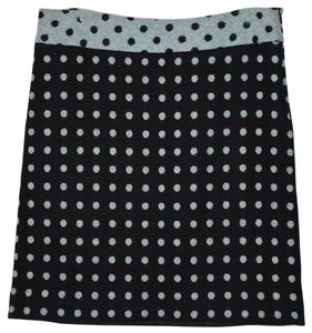 MILLY Polka Dot Wool Skirt Black, Blue