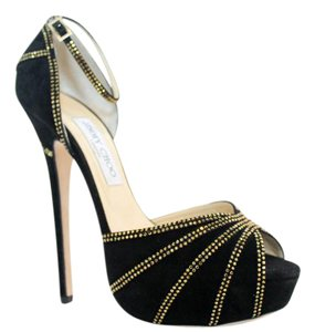 Jimmy Choo Kalpa Sexy Stilettos Gold Accents Black Suede Sandals
