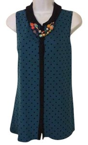 a.n.a. a new approach .n.. Aparrel Rayon Sleeveless Pok Dot Button Down Shirt Teal blue and black