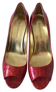 Enzo Angiolini Croc Crocodile Alligator Open Toe Stiletto Red Pumps