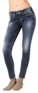 Silver Jeans Co. Aiko Mid Rise Cropped Ankle Skinny Jeans-Medium Wash