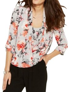 Alfani Pink Red Floral Plus-size 14w Top Multi-color