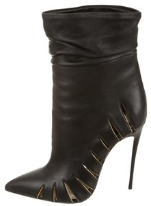Christian Louboutin Cut-out Ankle 38.5 Black, Gold Boots