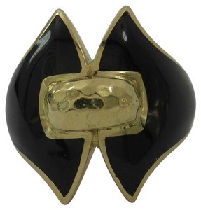 David Webb David Webb Gold and Black Enamel Ring