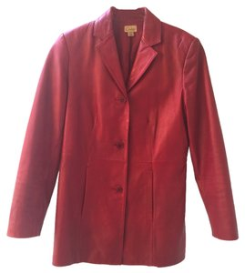 Caslon Leather Red Maroon Leather Jacket