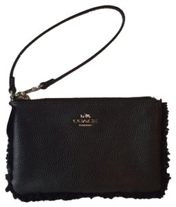 Coach Shearling & Pebbled Leather wallet/ Wristlet