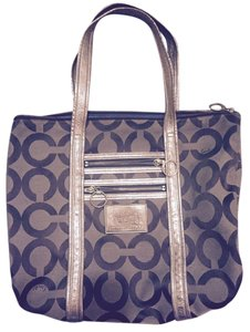 Coach Metallic Leather Canvas Tote in Brown and Gold