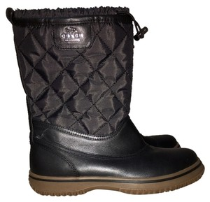 Coach Snow Rain Boot Quilted Black Boots