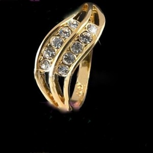 Rose Gold Bogo Free Wavy Band White Topaz Free Shipping Ring