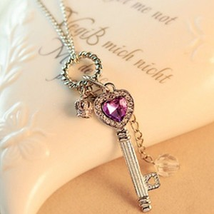Heart Key Rhinestone Long Necklace Free Shipping