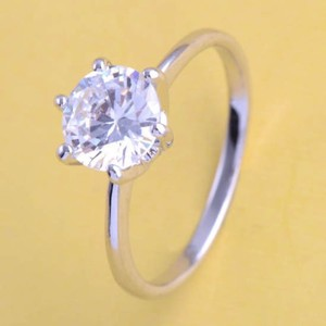 Silver 1/2ct Solitaire Engagement/Promise Free Shipping Engagement Ring