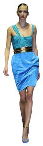 Gucci Cocktail 2011 Collection Satin Turquoise Teal Runway Silk Dress