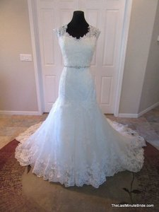 Justin Alexander Ivory/Silver Lace & Tulle 8689 Traditional Wedding Dress Size 16 (XL, Plus 0x)