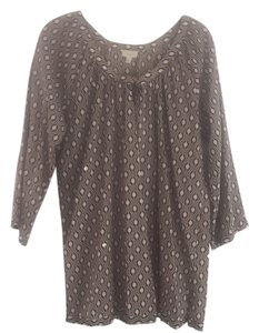 Talbots Sequin Xl Light Weight Top Tan and White