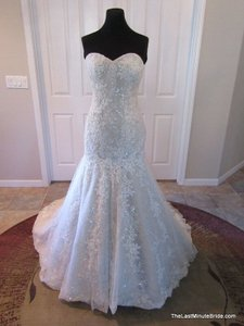 Justin Alexander Ivory Over Taupe Lace & Tulle 8793 Formal Wedding Dress Size 10 (M)