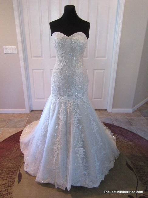 Item - Ivory Over Taupe Lace & Tulle 8793 Formal Wedding Dress Size 10 (M)