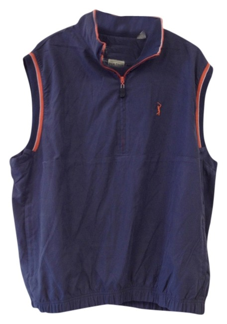 Item - Blue ***men's*** Orange & White Zipper Down Vest